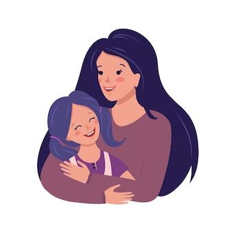 Mamá abraza a su hija feliz día de la familia amor de la madre por el niño día internacional de la mujer