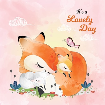 Mamá y baby fox durmiendo juntos