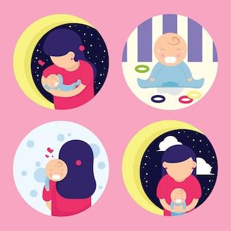Mamá y bebé llorando personaje