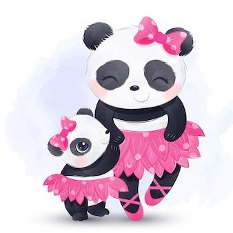Mamá y bebé panda con falda de bailarina y bailando juntos