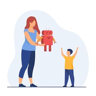 Mamá dando robot a niño feliz. regalo, presente, juguete. ilustración de dibujos animados