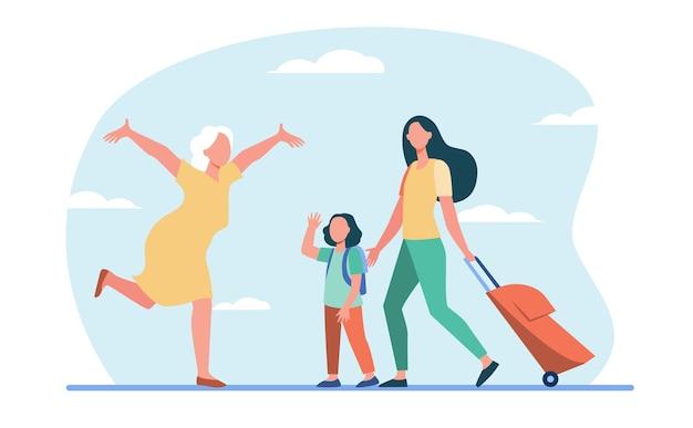 Mamá e hija pequeña con equipaje reunión con la abuela. mujer mayor corriendo con los brazos abiertos ilustración plana.