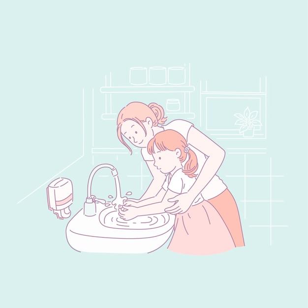 Mamá enseñando a su hija a lavarse las manos en estilo de línea