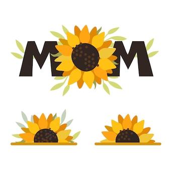 Mamá, girasol, flor, girasol, día de la madre, impresión, plantilla, para, inscripciones