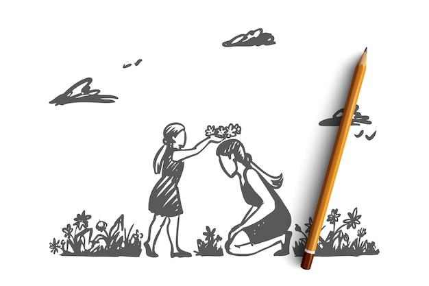 Mamá, hija, jardín, felicidad, concepto de familia. dibujado a mano madre e hija jugando en el jardín de verano. bosquejo del concepto del día de la madre.