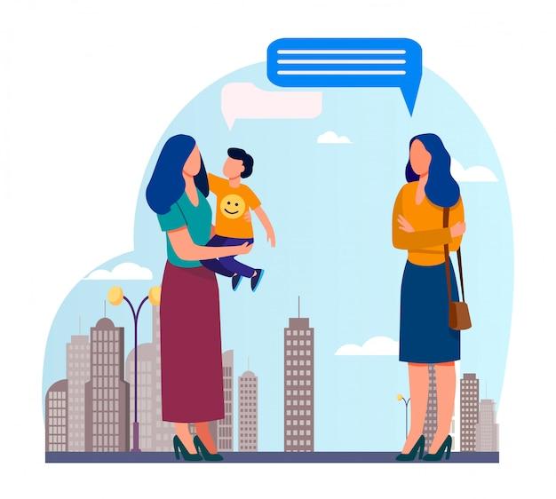 Mamá con hijo reunión con amiga al aire libre