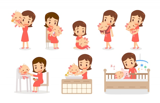 Mamá y niña. mamá y bebé en diversas acciones. familia amorosa.