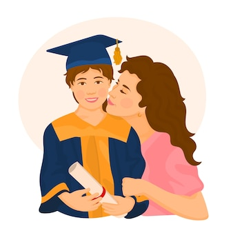 Mamá orgullosa con su hija graduada