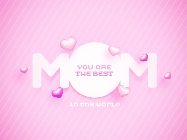 Mamá de texto de papel con corazones de color rosa, feliz día de la madre concepto.