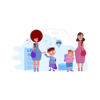 Las mamás llevan a los niños a la ilustración del concepto de escuela en el interior. metáfora - regreso a la escuela