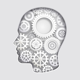Man head mind thinking with gear symbol paper cut ilustraciones
