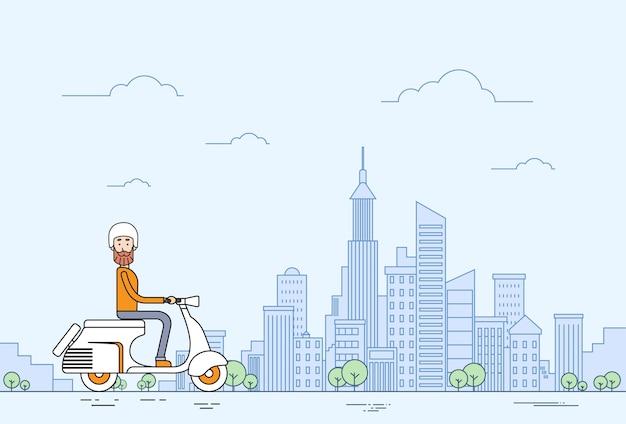 Man ride motocicleta scooter ciudad moderna