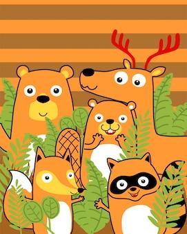 Manada de animales divertidos dibujos animados