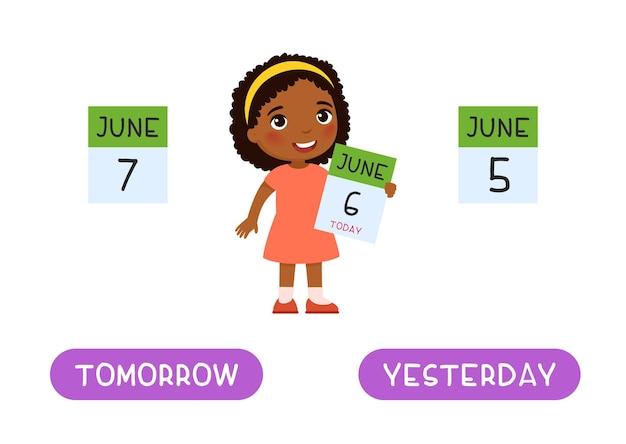 Mañana y ayer antónimos palabra tarjeta concepto opuestos flashcard para el aprendizaje del idioma inglés