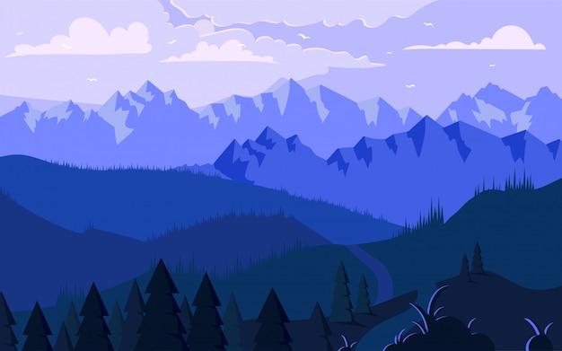 Mañana en las montañas ilustración minimalista