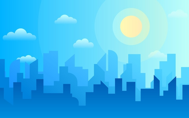 Mañana, paisaje de horizonte de la ciudad de día, edificios de la ciudad en diferentes momentos y cielo de la ciudad de paisaje urbano.