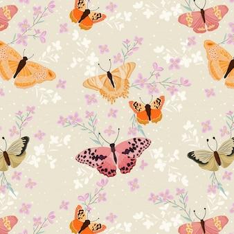 Mañana de primavera y patrón de mariposas