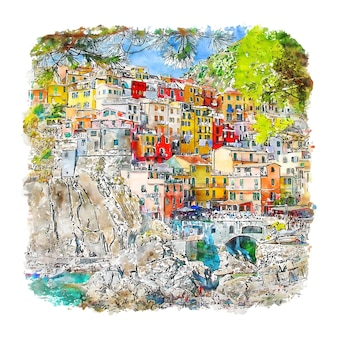 Manarola cinque terre italia boceto de acuarela dibujado a mano ilustración