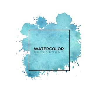 Mancha de acuarela azul con lavado sobre fondo blanco. textura acuarela