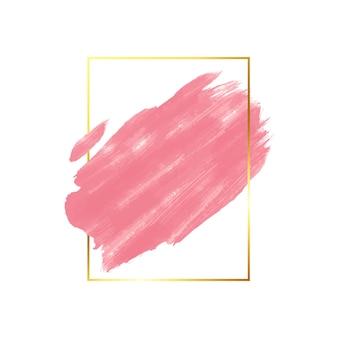 Mancha de acuarela marco dorado simple