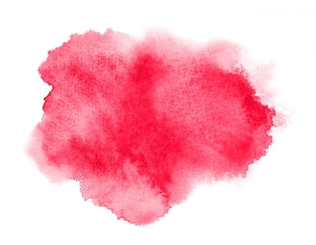 Mancha de acuarela roja con lavado. textura de acuarela para el día de san valentín.
