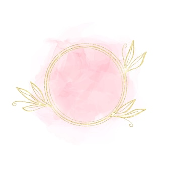 Mancha de acuarela rosa pastel con marco de círculo dorado con elementos florales aislados