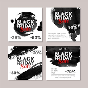 Mancha de acuarela viernes negro publicaciones de instagram