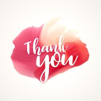 Mancha de acuarelas rojas con texto de agradecimiento