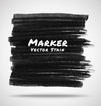 Mancha de marcador negro, ilustración vectorial