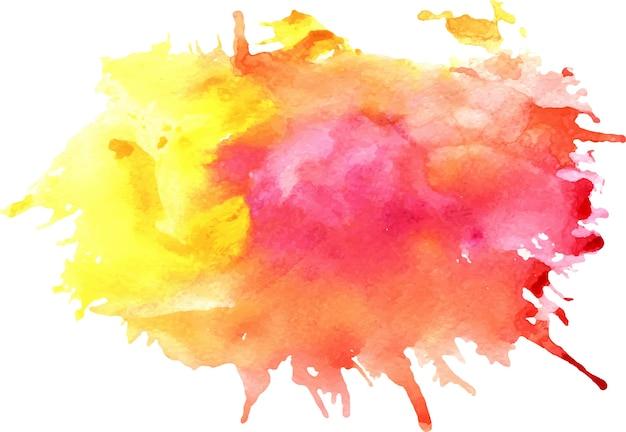 Mancha roja y amarilla de la acuarela con las manchas blancas / negras, textura de papel, aislada en un fondo blanco