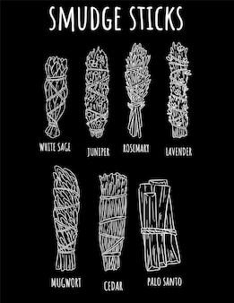 La mancha sabia pega el conjunto a mano de bosquejo garabatos en la pizarra. paquetes de hierbas