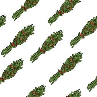 Mancha de salvia palos dibujados a mano boho de patrones sin fisuras. fondo de textura de paquete de hierba de romero