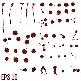 Mancha de sangre, gotas rojas, salpicaduras de arte pintado