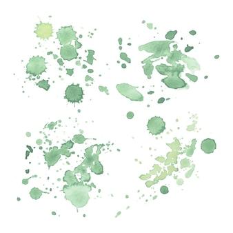 Mancha de vector dibujado a mano acuarela verde claro aislada sobre fondo blanco para el diseño.