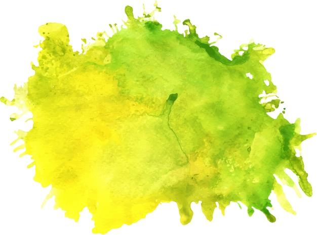 Mancha verde y amarilla de la acuarela con las manchas blancas / negras, textura de papel, aislada en un fondo blanco