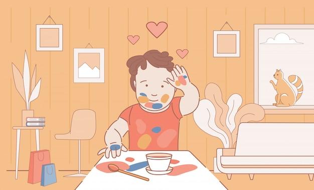 Manchado con pintura boy dibujo y dejando huellas de manos en papel ilustración de contorno de dibujos animados.