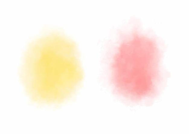 Manchas abstractas de acuarela naranja y roja