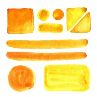 Manchas de acuarela, aislado. elementos de diseño vectorial. pincel de pintura.