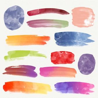 Manchas de acuarela pintadas a mano y trazos de pincel.