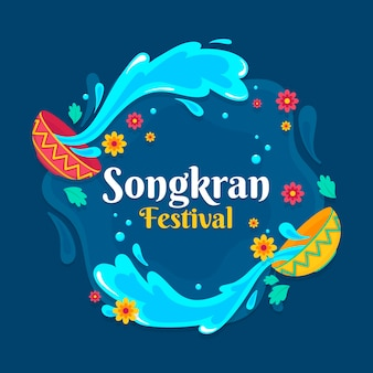 Manchas de agua de cuencos evento songkran