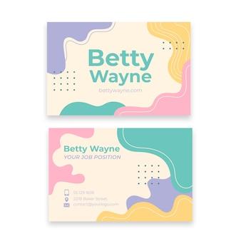 Manchas de color pastel y tarjeta de visita con efecto memphis