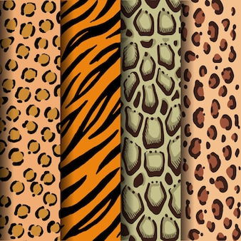 Manchas de leopardo, tiras de tigre, manchas de leopardo nubladas y manchas de jaguar