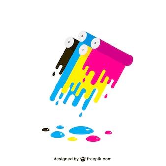 Manchas de pintura de colores cmyk