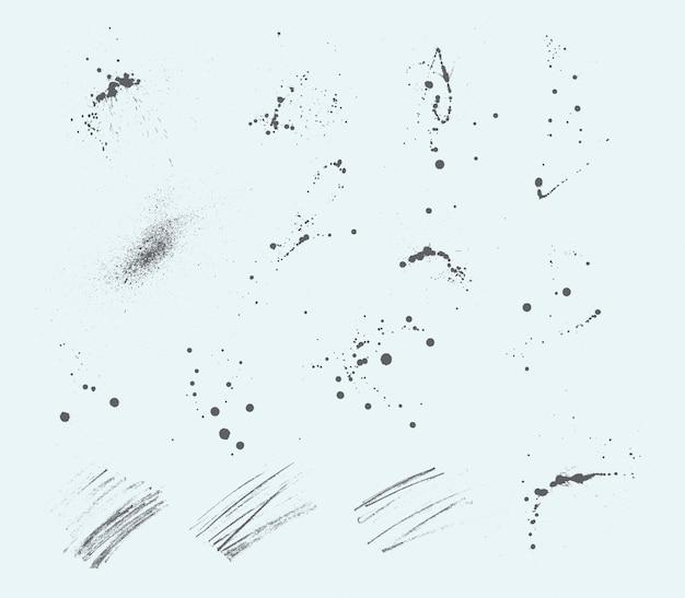 Manchas de tinta expresivas y trazos de lápiz.