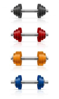 Mancuerna de metal para musculación en gimnasio.