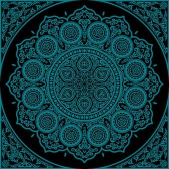 Mandala azul oriental - adorno redondo