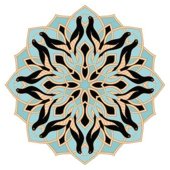 Mandala azul con pájaros negros. adorno oriental. elemento de diseño.