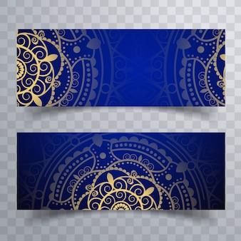 Mandala banners azules
