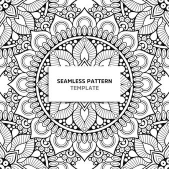 Mandala blanco y negro de patrones sin fisuras