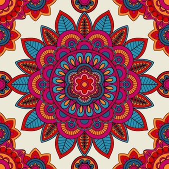 Mandala boho mano dibujada de patrones sin fisuras